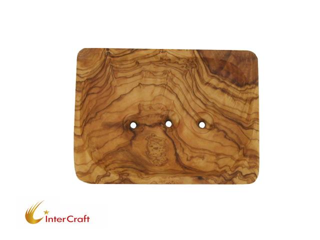 Rectangular olive wood SOAP dish