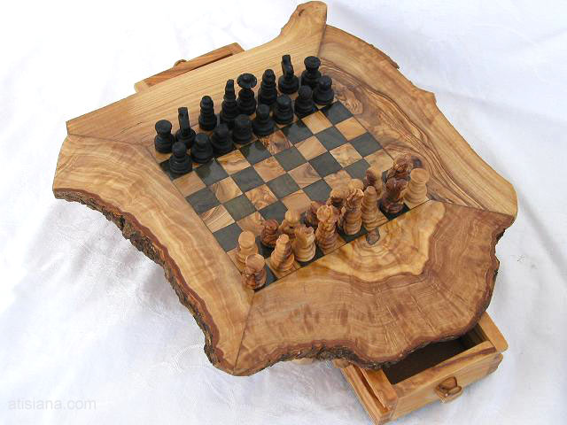 Rustic Olive Wood Chess Board 25 Cm
